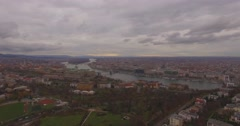 City view of Budapest heading towards the Danube Stock Footage