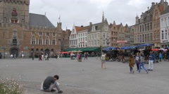 Panoramic view of Markt in Bruges Stock Footage