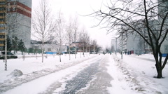 Snowfall on a snow-covered alley Stock Footage