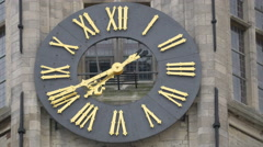 Close view of the Belfry of Bruge's clock in Bruges Stock Footage