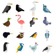 Birds vector set illustration. Egle, parrot, pigeon and toucan. Penguins - stock illustration