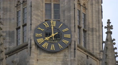 Beautiful view of the clock on the Belfry, at eight o'clock in Markt, Bruges - stock footage