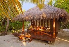 Beach bungalow - Maldives Stock Photos