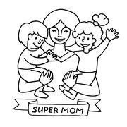 happy mothers day card with cartoons. - stock illustration