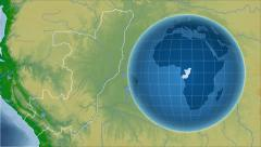 Congo and Globe. Bumps shaded Stock Footage