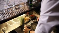 Bartender prepairing ice - slowmotion Stock Footage