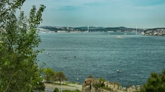 View of Bosphorus Bridge from Topkapi Palace in Istanbul Stock Footage