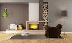 Living room with fireplace and leather armchair Stock Illustration