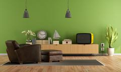 Green Living room with retro  tv Stock Illustration