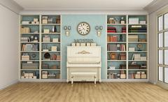 Classic livingroom with upright piano and bookcase - stock illustration