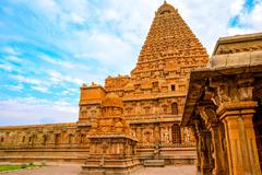 Great architecture of Hindu Temple Brihadishwara, India, Tamil Nadu, Thanjavo Stock Photos