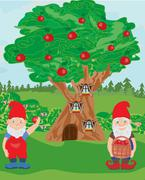 Fantasy tree house and two funny gnomes Stock Illustration