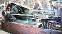 Joint of old machine working by water steam engine in agricultural factory Stock Footage