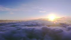 Real flight over field of  clouds at  height of 1800 meters .Aerial  with roll Stock Footage