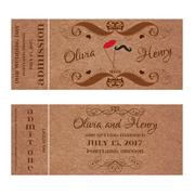 Ticket for Wedding Invitation with mustache and lips on stick - stock illustration