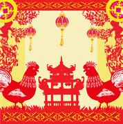 year of rooster design for Chinese New Year celebration - stock illustration