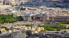 Aerial View of the Place de la Concorde in Paris Stock Footage