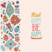 Floral card design, flowers and leaf doodle elements - stock illustration