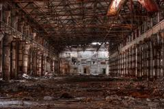 Workshop of abandoned factory in HDR Stock Photos