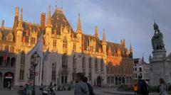 Beautiful view of Provinciaal Hof seen in sunlight in Markt, Bruges Stock Footage