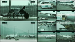 CCTV Camera on the Airport terminal, split screen. Stock Footage