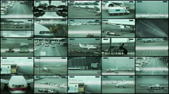 Many security cameras installed in airport terminals and on the runway. - stock footage