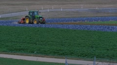 Landscape With Cabbages And Tractor - stock footage