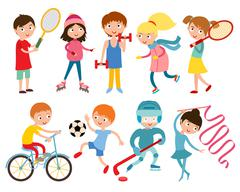 Young kids portsmens isolated on white vector illustration Stock Illustration