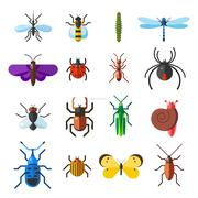 Insect icon flat set isolated on white background - stock illustration
