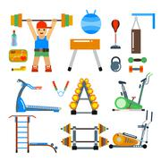 Fitness gym club vector icons. Athlet and sport tools. Sportsman silhouette - stock illustration