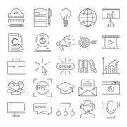 Vector business webinar and online education outline icons - stock illustration