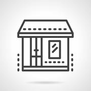 Market. Storefronts black line vector icon Stock Illustration