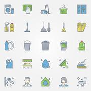 Cleaning colorful icons Stock Illustration