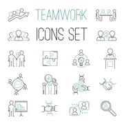 Business teamwork teambuilding outline icons Stock Illustration