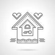 Real estate flat line vector icon. Family house - stock illustration