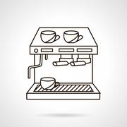 Stock Illustration of Coffee shop appliances flat line vector icon