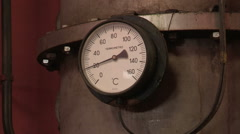 An ancient thermometer of a barrel Stock Footage