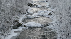 The view of the river with snow all over Stock Footage