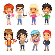 Trendy Dressed Cartoon Characters - stock illustration