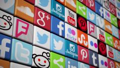 Social Media Wall - social media icons Facebook Twitter YouTube Instagram Stock Footage