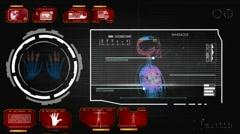 Hands - Screen Virus Detector - red 01 Stock Footage