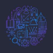 Physics vector glossy illustration - stock illustration
