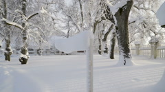 Closer look of the thick snow in the manor Stock Footage