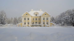 Closer look of the Palmse manor with snow Stock Footage