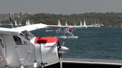 Sea plane arriving back to wharf Stock Footage