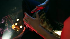 Male hands playing on darbuka, slow rhythm, incense and candles in the backgr - stock footage