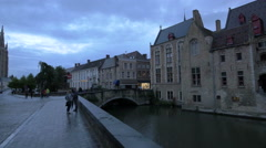 Panoramic view of Rozenhoedkaai, the bridge and Dijver Canal in Bruges Stock Footage