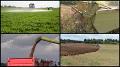 Tractor fertilize plow field. Combine harvest cereal. Collage Stock Footage
