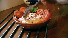 Salad of beans and tomatoes.Typical Italian dish. Stock Footage