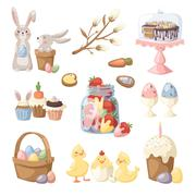 Easter holiday vector illustration - stock illustration